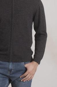 Edler Zip-Pullover aus 100% Alpakawolle aus Peru - mit Leder - KUNA