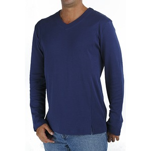 Langarm-T Shirt mit V Ausschnitt - Biologischer Pima Baumwolle - B.e Quality