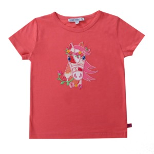 Kurzarmshirt strawberry Pferde Applikation GOTS - Enfant Terrible