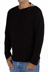 Langarm-T Shirt mit Rundhalsausschnitt mit Öffnung- Biologischer Pima Baumwolle - B.e Quality