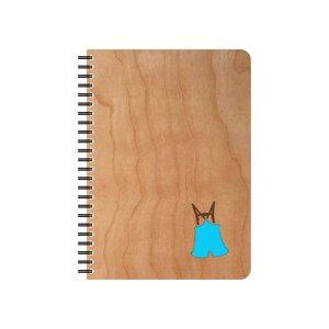 Lederhose Schreibblock mit Kirschholz Deckblatt - echtholz