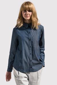 Damen Bluse Carmen aus formbeständigen Biobaumwollstoff (kbA) - Grenz/gang