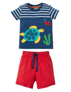 Sommerkombi: T-shirt und kurze Hose mit Schildkröte - Frugi