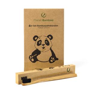 Bambus Zahnbürsten (4 Stück | Medium-Soft) - Planet Bamboo