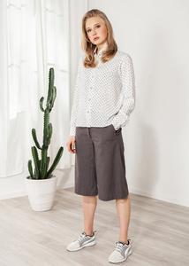 Bluse Damenhemd weiß mit Print Herzen Viskose - SinWeaver alternative fashion