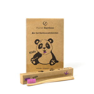 Planet Bamboo 4er-Sparset Bambus Kinderzahnbürsten - Planet Bamboo