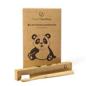 4er Sparset - Bambus Zahnbürste - vegan & umweltfreundlich (Medium-Soft) - Planet Bamboo