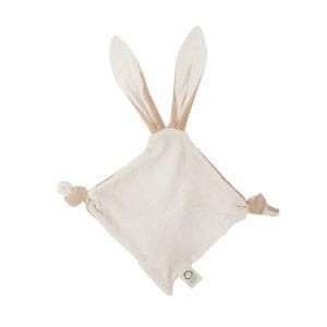 """Großes Schmusetuch """"Bunny Ears"""" mit Beißring aus Holz und Knisterohren - Wooly Organic"""