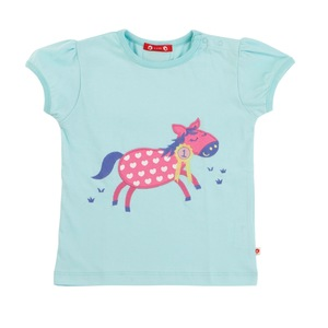 Piccalilly Kurzarm Shirt mint mit Esel 100% Baumwolle( bio)   - piccalilly