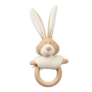 """Rassel mit Beißring aus Holz """"Bunny"""" - aus Bio-Baumwolle - Wooly Organic"""