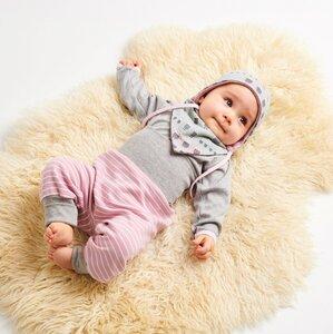 "Langarm Baby-Shirt ""Interlock Grau/Zartrosa"" aus 100% Bio-Baumwolle - Cheeky Apple"