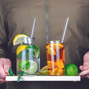 Glas-Trinkhalme Glas-Strohhalme Trinkhalm Glas + Bürste 6St. 21,5cm - EcoYou