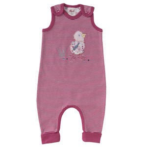 Baby Strampler rot u. blau geringelt Bio People Wear Organic - People Wear Organic