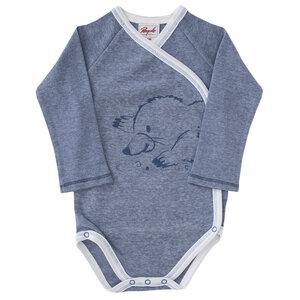 Baby LA Wickelbody rot u. blau melange Bio People Wear Organic - People Wear Organic