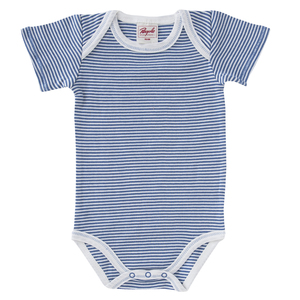 Baby Kurzarm Body rot u. blau geringelt Bio People Wear Organic - People Wear Organic