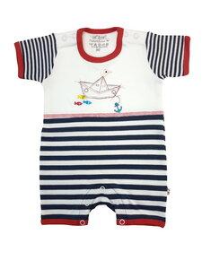 Baby Spielanzug weiß marine Bio Baumwolle EBi & EBi - EBi & EBi