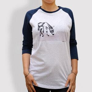 "Damen T-Shirt, ""Eselchen"", 3/4-Raglan-Ärmel, Navy - little kiwi"