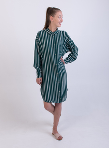 Blusenkleid - Shirt Dress Deep Sea Stripe - Grün - STUDIO JUX