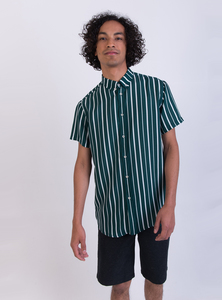 Hemd - Short Sleeve Shirt Deep Sea Stripe - Grün  - STUDIO JUX