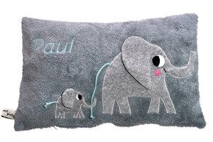 """Personalisierte Kuschelkissen """"Elefanten"""" mit ihrem Eigenen Wunschname - Pat und Patty"""