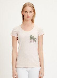 Garment Dyed T-Shirt aus Bio Baumwolle mit Kaktus-Print  - ORGANICATION