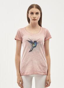Garment Dyed T-Shirt aus Bio Baumwolle mit Vogel-Print - ORGANICATION
