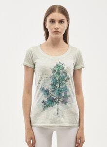 Garment Dyed T-Shirt aus Bio Baumwolle mit Baum-Print - ORGANICATION