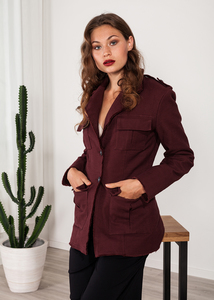 Damen Blazer rot bordeaux long - SinWeaver alternative fashion