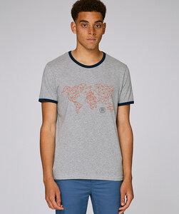 Bicolor T-Shirt mit Motiv / orange Worldmap - Kultgut