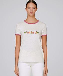 Bicolor T-Shirt mit Motiv / c'est la vie - Kultgut