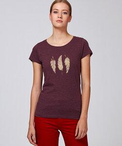 Basic T-Shirt mit Motiv / Glücksfedern - Kultgut