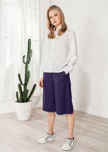 Culotte, Kurze Hose Leinen grau weit - SinWeaver alternative fashion