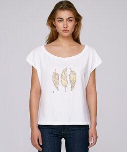 Oversize T-Shirt  mit Motiv / Glücksfedern - Kultgut