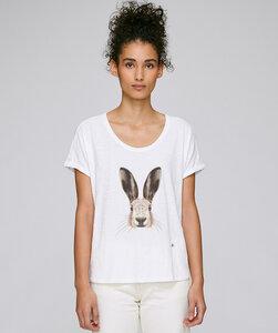 Rolled Sleeve T-Shirt mit Motiv / Hase - Kultgut