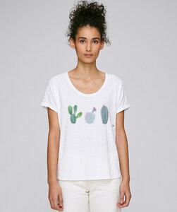 Rolled Sleeve T-Shirt mit Motiv / Kakteen - Kultgut