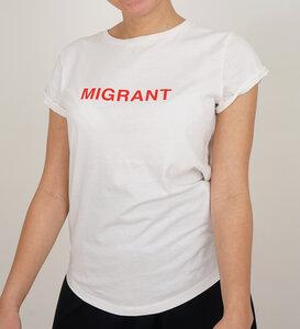 Migrant T-Shirt weiss aus Bio-Baumwolle - Lena Schokolade