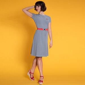 Oh Yeah! - Sommerkleid aus Bio-Baumwolle, blau-weiß gestreift - Mademoiselle YéYé