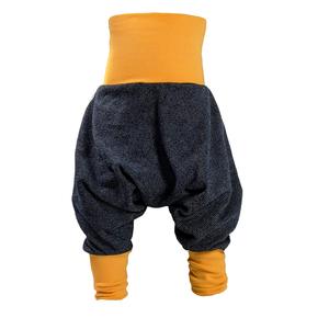 Yogahose Pumphose Bio Sweat blau/meliert verschiedene Bündchenfarben - liebewicht