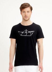 T-Shirt aus Bio-Baumwolle mit Papierschiff-Druck - ORGANICATION