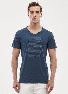 T-Shirt aus Bio-Baumwolle mit Linien-Print - ORGANICATION
