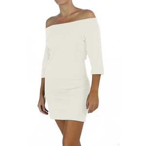 Jersey-Halsausschnitt 3/4 Ärmel kleid - Biologischer Pima Baumwolle - B.e Quality