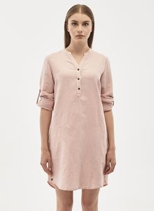 Langarm Kleid aus Leinen-Mix mit Knopfleiste - ORGANICATION