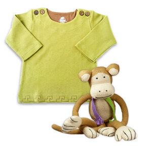Geschenk zur Geburt: Grüner Wohlfühl-Pullover u. Strick-Affe (39 cm) - Chill n Feel
