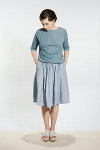 Shirt mit Rücken-Ausschnitt - Graublau - LUXAA®