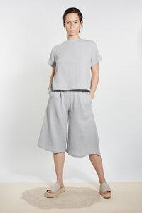 Musselin Shirt mit Rücken Detail - Hellgrau - LUXAA®