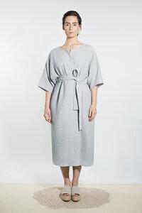 Musselin Kimono-Mantel-Kleid - Hellgrau - LUXAA®