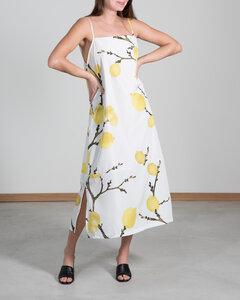 Kleid CAPRI MIDI weiß mit Zitronenprint - JAN N JUNE