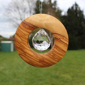 Fensterschmuck Scheibe aus Holz zum Aufhängen | mit Bleikristall 30mm - Mitienda Shop