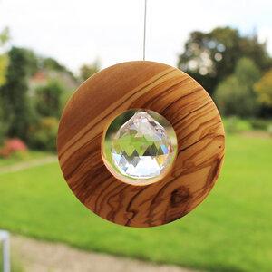 Fensterschmuck Scheibe aus Holz zum Aufhängen | mit Bleikristall 40mm - Mitienda Shop