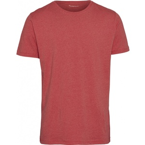 knowledgeALDER basic o-neck t-shirt Coral Melange  - KnowledgeCotton Apparel